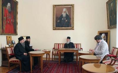 Сусрет Патријарха српског и хиландарског игумана