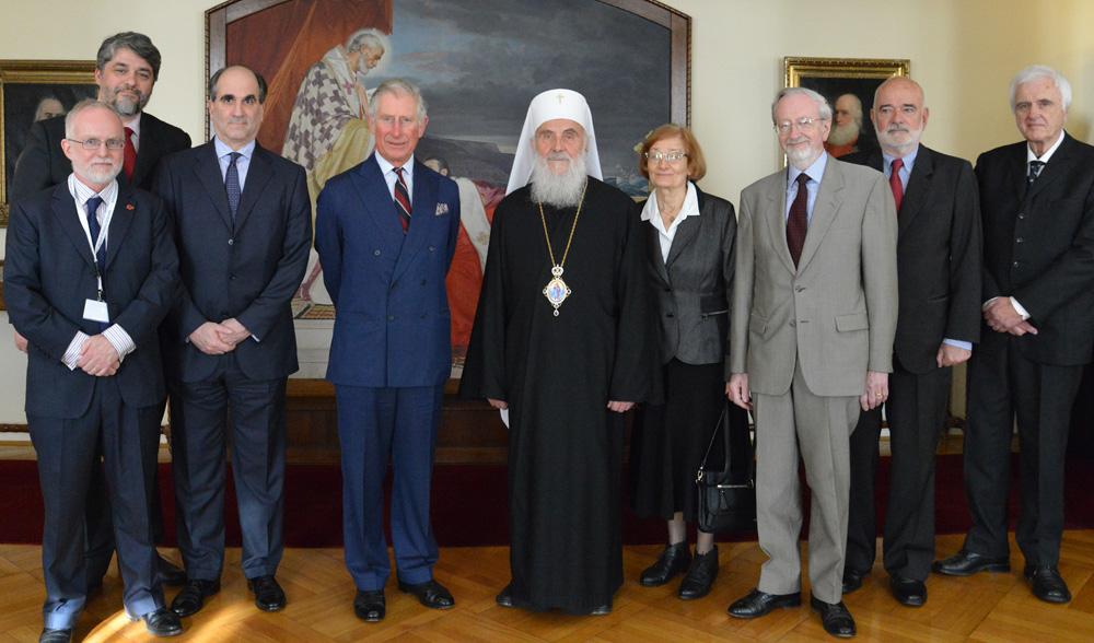 Принц Чарлс и Патријарх Иринеј са представницима Хиландара