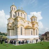 Игуман Методије на освећењу храма Светог Саве у Мркоњић Граду