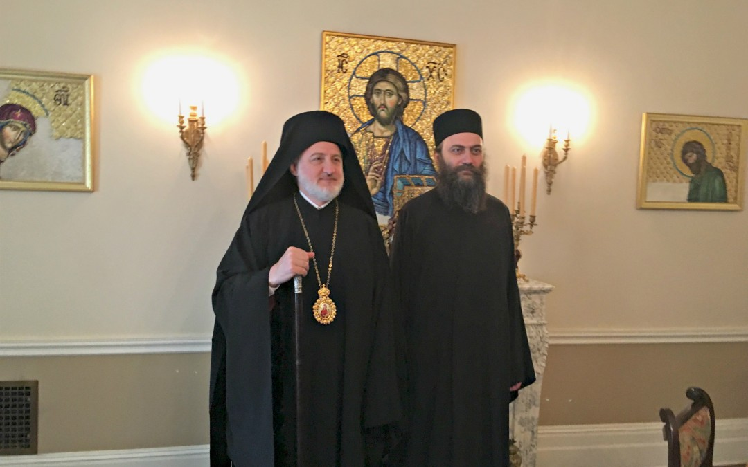 Игуман Хиландара Методије у Њујорку са новим Архиепископом америчким Елпидофором